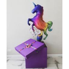 Большая коробка-сюрприз с шарами Единорог