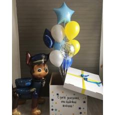 Коробка-сюрприз с шарами на Щенячий патруль