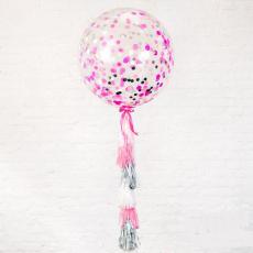 Большой шар с розовым конфетти 90 см с тассел-гирляндой