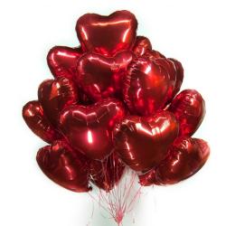 """Облако из шаров """"Красные сердца"""" из фольги 45 см"""