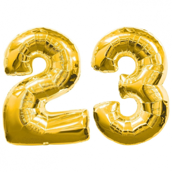 Цифры 23 из фольги с гелием