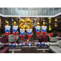 Оформление шарами ресторана на 23 февраля