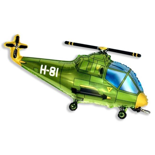Шар из фольги Вертолет зеленый