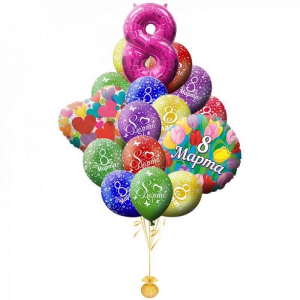Букет из шаров на 8 марта премиум