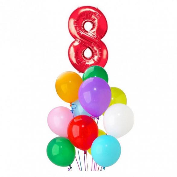 Букет из шаров ассорти с фольгированной цифрой 8