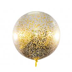 Большой шар с золотым конфетти 90 см