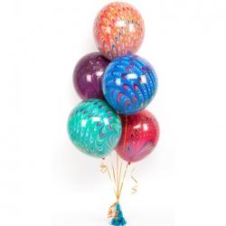 """Набор из 5 шаров """"павлин"""" 45 см"""