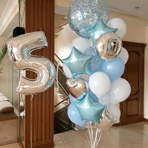 Букет из шаров с цифрой и большим шаром с конфетти