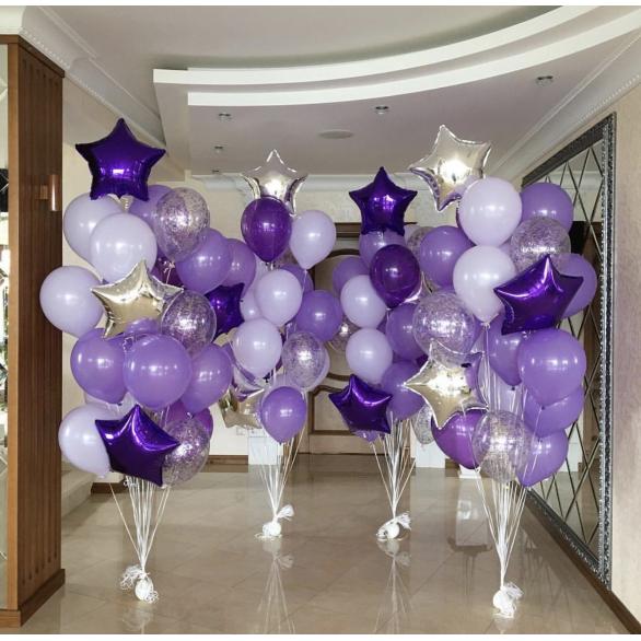 Букеты из шаров со звездами и шарами с конфетти