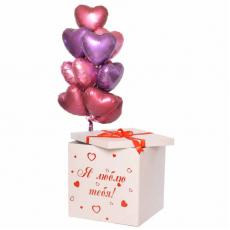 """Коробка с шарами """"Я тебя люблю!"""""""