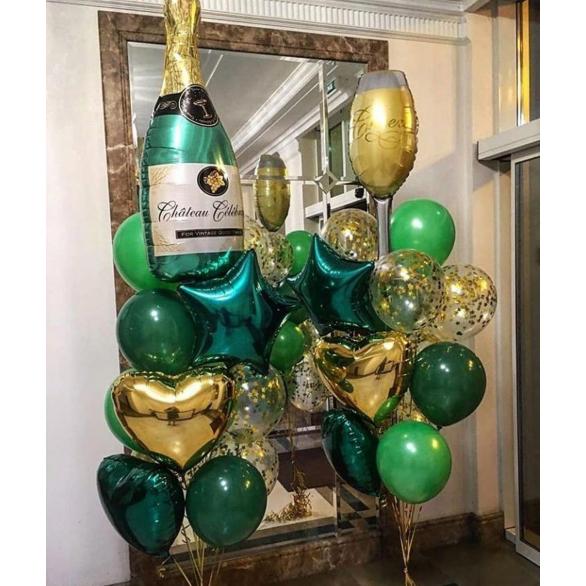 Букет шаров Бутылка шампанского с бокалом