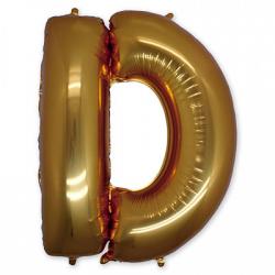 Фольгированная Буква D золото 102 см
