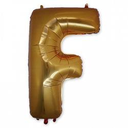 Фольгированная Буква F золото 102 см