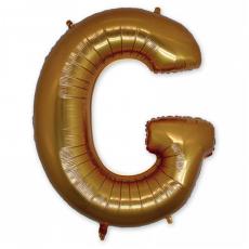 Фольгированная Буква G золото 102 см