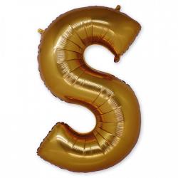 Фольгированная Буква S золото 102 см