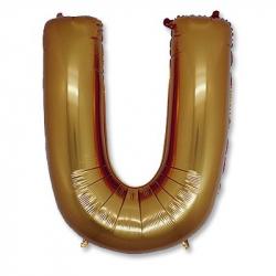Фольгированная Буква U золото 102 см