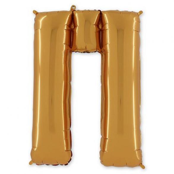 Фольгированная Буква П золото