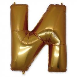 Фольгированная Буква И золото 102 см