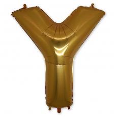 Фольгированная Буква Y золото 102 см