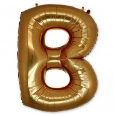 Фольгированная Буква B золото 102 см