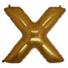 Фольгированная Буква X золото 102 см