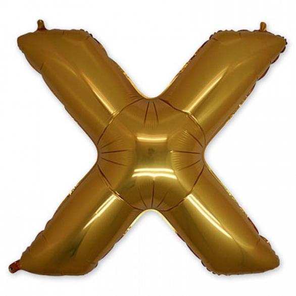 Фольгированная Буква X золото