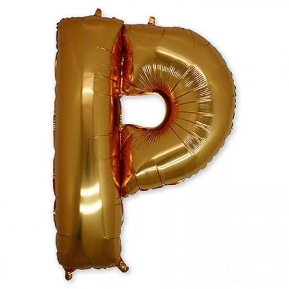 Фольгированная Буква P золото