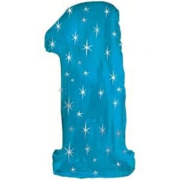 Шар цифра 1 синяя со звездами