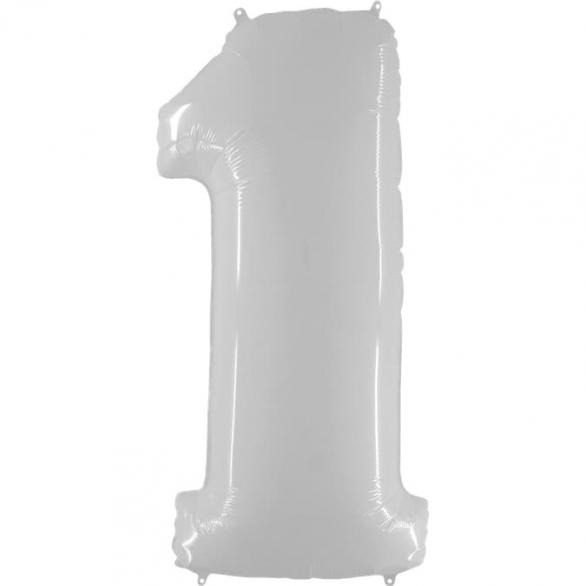Шар цифра 1 белая 102 см
