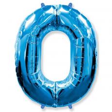 Шар цифра 0 синяя 102 см