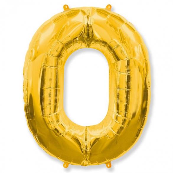 Шар цифра 0 золото 102 см