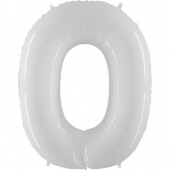 Шар цифра 0 белая 102 см