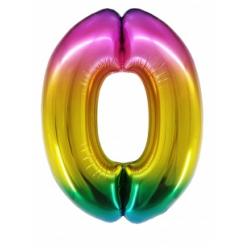 Шар цифра 0 радужная 86 см