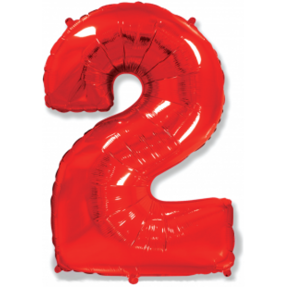 Шар цифра 2 красная 102 см
