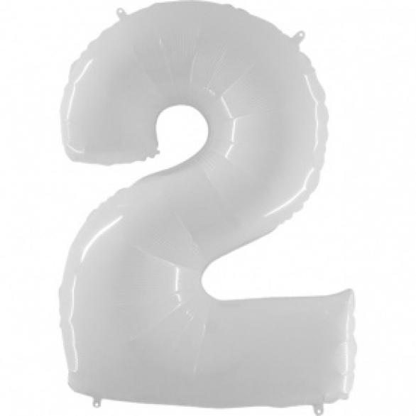 Шар цифра 2 белая 102 см