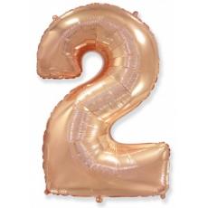 Шар цифра 2 розовое золото 102 см