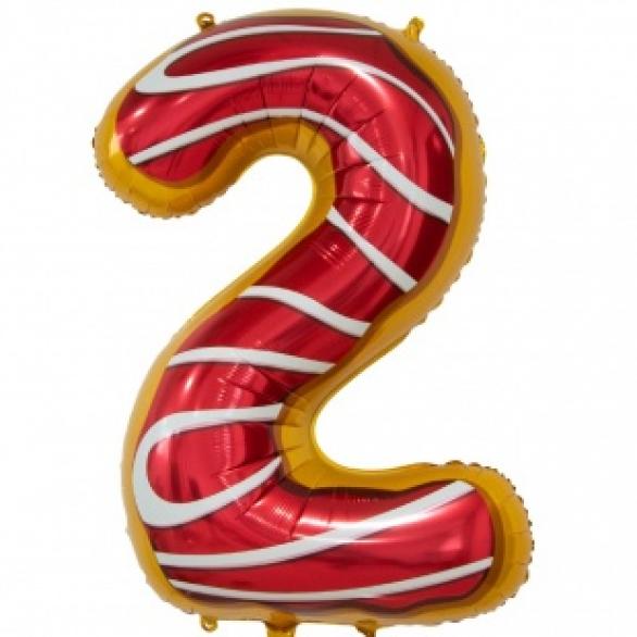 Шар цифра 2 пончик 86 см