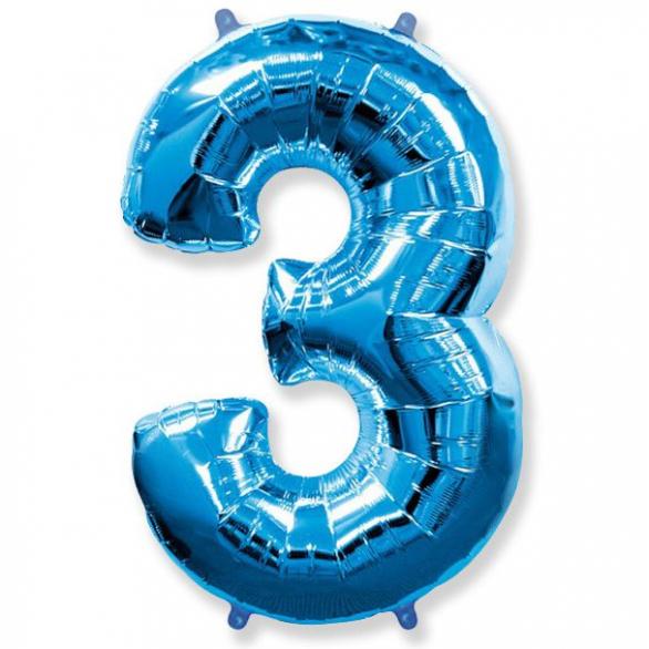 Шар цифра 3 синяя 102 см