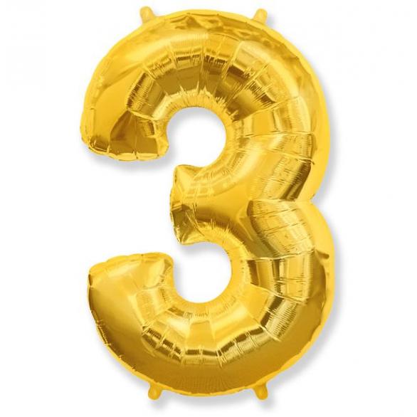 Шар цифра 3 золото 102 см