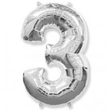 Шар цифра 3 серебро 102 см