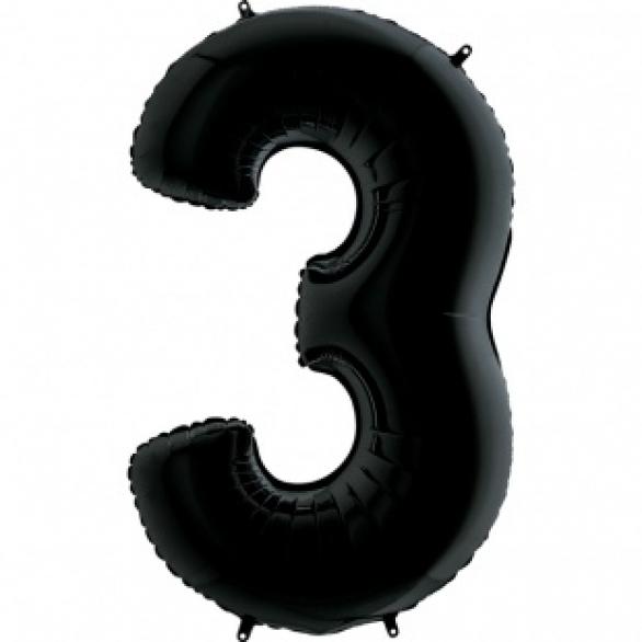 Шар цифра 3 черная 102 см
