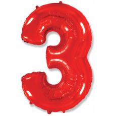 Шар цифра 3 красная 102 см