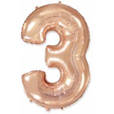 Шар цифра 3 розовое золото 102 см
