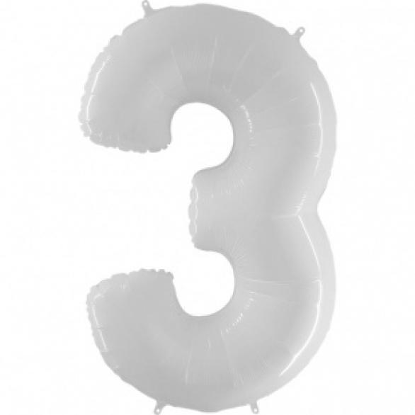 Шар цифра 3 белая 102 см