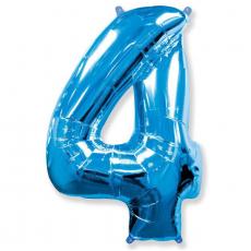 Шар цифра 4 синяя 102 см