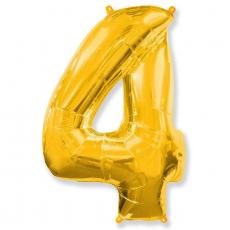 Шар цифра 4 золото 102 см