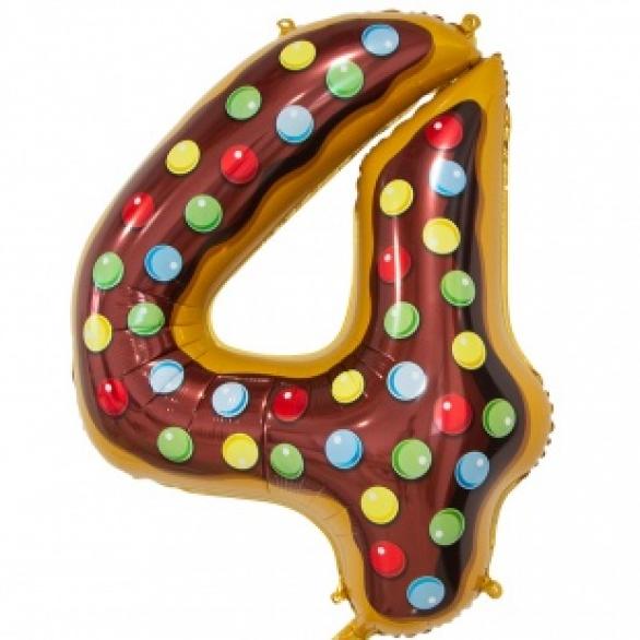 Шар цифра 4 пончик 86 см