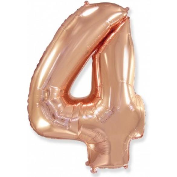 Шар цифра 4 розовое золото 102 см
