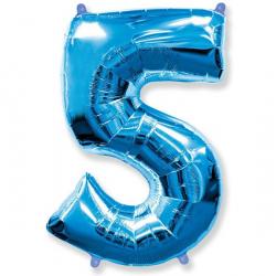 Шар цифра 5 синяя 102 см