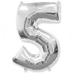 Шар цифра 5 серебро 102 см